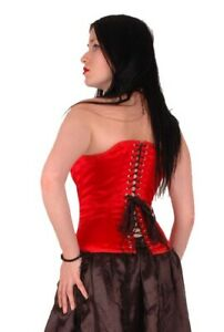 AXFORDS VINTAGE RED SATIN HOURGLASS VICTORIAN LACE UP CORSET 28 IN WAIST 14  16