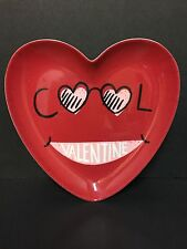 2 Pottery Barn Kids VALENTINE'S Day Too COOL PLATE Kitchen Table Boy Heart NEW