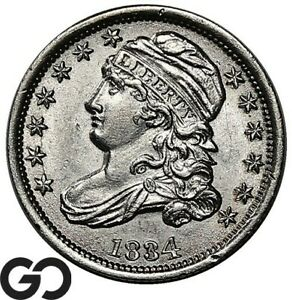 1834 Capped Bust Dime, Nice White Sharp Choice BU++ Early Date