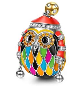 925 Sterling Silver Skiing Owl Charm Beads Love Animal European bracelet Charms