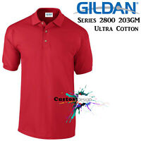 Gildan POLO Jersey Golf Collar T-SHIRT Red Basic tee S - XXL Ultra Cotton