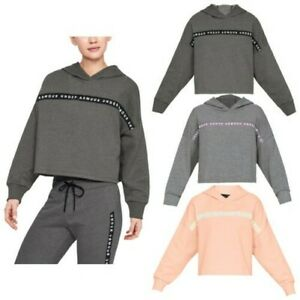 Under Armour Ladies Taped Fleece Hoodie Soft UA Gym Training Pullover Crop Top