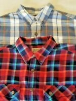 Duluth Trading Co. Lot of 2 Men's Large Tall Long Sleeve Flannel Trim Fit Shirts