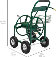 Best Choice Products 300ft Water Hose Reel Cart w/Basket for Outdoor Garden, Hea