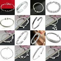 Women 925 Silver Flower Cuff Bangle Wristband Bracelet Wedding Jewelry Gifts