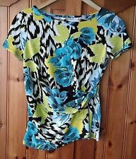Debenhams Collection Womens Floral Top Size UK 10 Ruched Side Blue & Green Smart