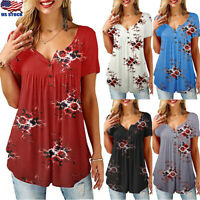 Womens Summer Floral Tee T Shirts Short Sleeve Blouse Casual Loose Tunic Tops US