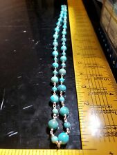 """WK Whitney Kelly 925 Sterling Silver Turquoise Beaded Southwest Necklace 36"""""""