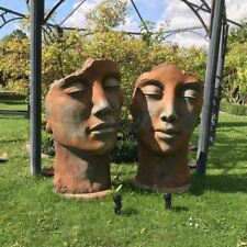 SET SKULPTUR GESICHTER FRAU & MANN ROSTEFFEKT je 115 cm STEIN Figur Deko Garten