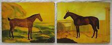 "Vintage Horse Paintings Chestnut Brown Equestrian Decor Folk Art Signed 18""X 24"""