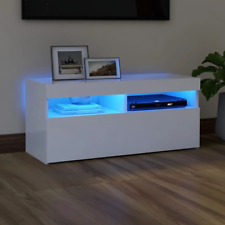 vidaXL TV Schrank mit LED-Leuchten Weiß 90x35x40cm Lowboard Fernsehschrank