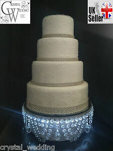 Diamante LED iluminated cake  stand  pendant swag bling