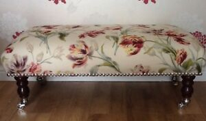 Footstool In Laura Ashley Gosford Cranberry Fabric
