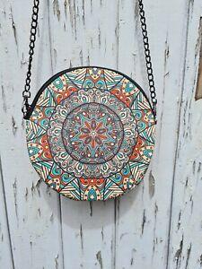 Round Flower Patterned Bag - Waterproof Handbag - Recycled Polyester Geometric