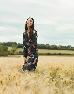 Joules Womens Chloe Fixed Wrap Dress - Green Floral