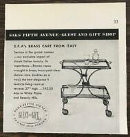 1955 Saks Fifth Avenue Guest and Gift Shop Holiday Time Ad Brass Cart from Italy