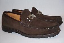 Salvatore Ferragamo Men's Brown Suede Shoes Loafers Size 10.5 M Lug Rubber Sole