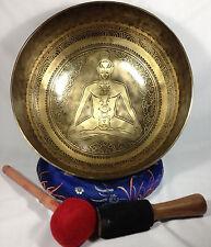 """14"""" Healing Chakra & Prayer Mantra Carved Himalayan 7 Metal Healing Singing Bowl"""