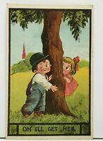 OH I'LL GET HER, Girl Hiding from Boy 1914 Boone Nebraska Postcard H10
