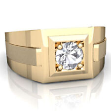 22K Solid Yellow Gold Natural Diamond Certified Men's Wedding Ring Jewelry
