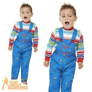 Toddler Licensed Chucky Costume Halloween Kids Serial Killer Fancy Dress Outfit