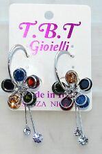 TOP FASHION Orecchini con cristalli da Donna,cerchio argento Fiore multicolore
