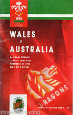 WALES v  Australia 21st November 1992 Cardiff Arms Park Rugby Union programme