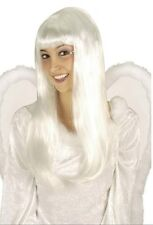 Ladies Long White Angel Wig Holy Gabriel Fairy Fancy Dress Halloween Valentine