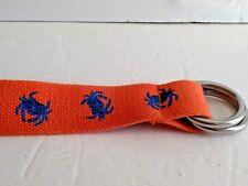 POLO RALPH LAUREN Orange Blue Crab  Motif Canvas Double D Ring Belt NO SIZE