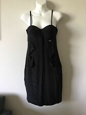 NWT LIU JO BLACK 100% SILK SPAGHETTI STRAP RUFFLE FRONT POCKETS DRESS SIZE 42
