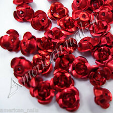 Fleurs ROSES en Metal Bijou d'ongle Nail Art Rouge 6mm
