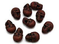 20pcs Coffee Halloween Gothic Skull Acrylic Beads 25mm (Double side)