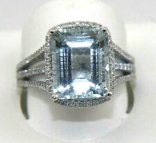 Huge Emerald Cut Aquamarine & Diamond Solitaire Ring 14k White Gold 5.94Ct