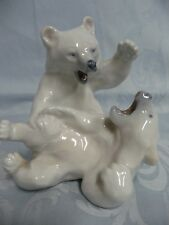 Adorable Pre-Owned Royal Copenhagen Polar Bears At Play Figurine