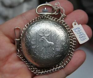 NEW Pocket watch on a chain 2356 SU RAKETA Quartz The MOOSE symbol Vintage №2