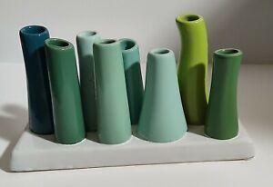 POOLEY2CHRTRS-P28CHA Teal/ Green Ceramic Flower Bud Vase-Decor/Chic/ Lovely