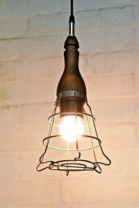 A Vintage Ceiling Light Industrial Unique Wooden Caged Workshop Lamp Salvage