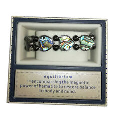 Equilibrium Hematite & Paua Shell Heart Bracelet Healing, Valentine's Day