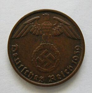 GERMANY- THIRD REICH-BRONZE REICHSPFENNIG 1939 B -KM # 89