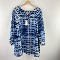 NEW Ryllace Blouse Plus Size 18 Blue 100% Silk 3/4 Sleeves Printed