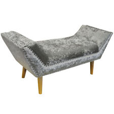 Crushed Velvet Chaise Bench with Wood Legs - Silver OCH5066