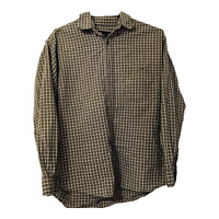 Eddie Bauer Mens Large Green Plaid Long Sleeve Button Down Casual Dress Shirt