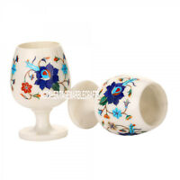 2 Set of Marble Wine Glass Marquetry Inlay Multi Floral Casino Glass Decor H3666