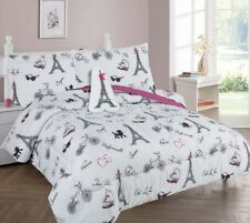 Paris Eiffel Tower Kid Comforter set Multi colors White Black Pink