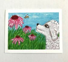 Dog and Bee, Dog and Flowers Painting, Poodle, Limited Edition, ACEO painting