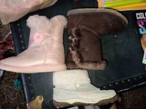 3Pair Little Girls Fur Lined Boots Stride Rite Cheyenne SZ 8