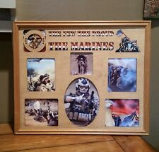14x18 US Marines Picture Frame and Matte with 6 Photo Holes