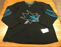 Adidas San Jose Sharks Authentic Alternate Hockey Jersey  Black Size 60 NWT New