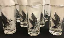 Lot of 8 Vintage Highball Canada Goose Silver Rimmed Drinking Glasses Game Bird