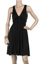 Diane Von Furstenberg DVF Azelia Solid Black Jersey Dress Sz 10 Drape Sleeveless